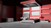 3d model modern house interior design