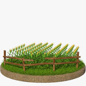 3d obj grass corn
