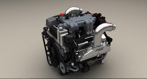 520 cu marine engine 3d model
