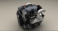 520 cu marine engine 3d model