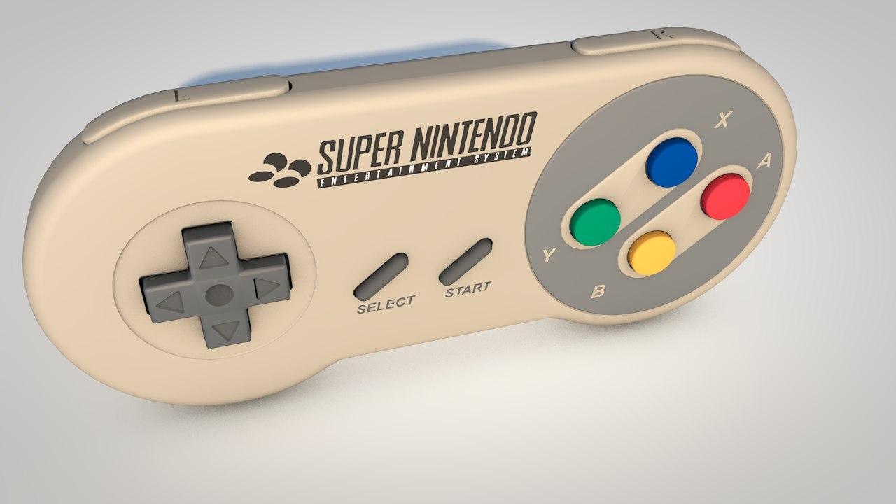 super nintendo controller 3d model