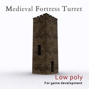 3d model medieval fortress turret