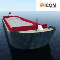 Cargo ship barge loaded with sand