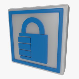 icon padlock sign 3d obj