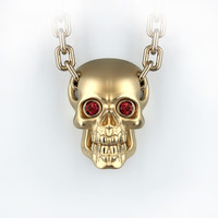 Skull pendant with round gemstones 001