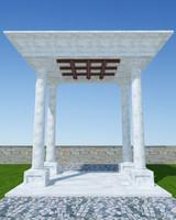 pergola stone p05 3d model