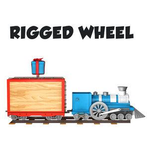 3d wheel rigged train cartoon model