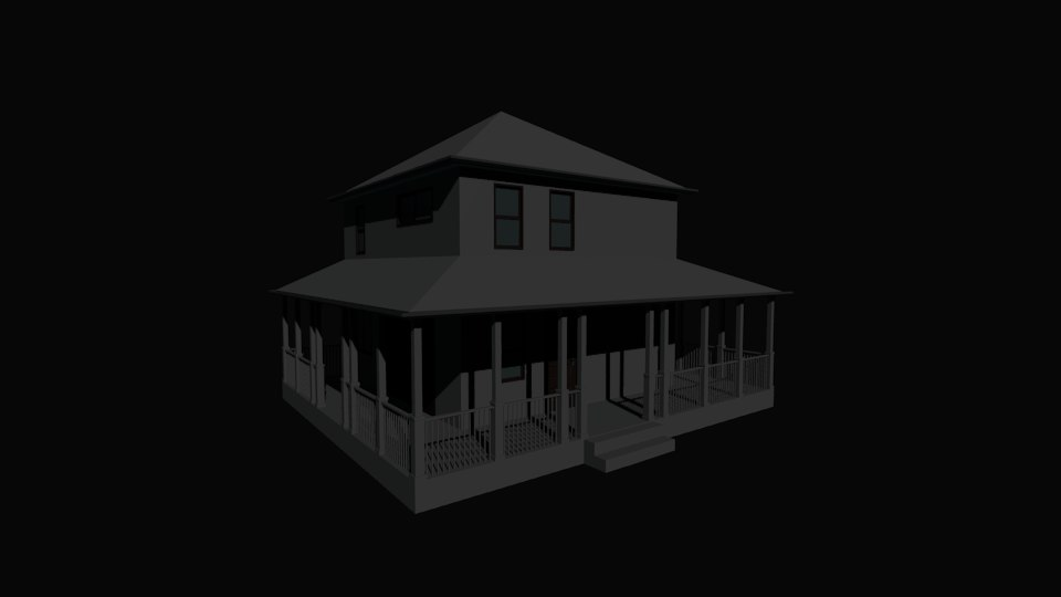 3d low-poly house games model
