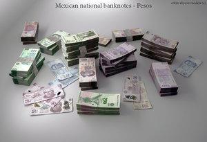 3d model mexican pesos