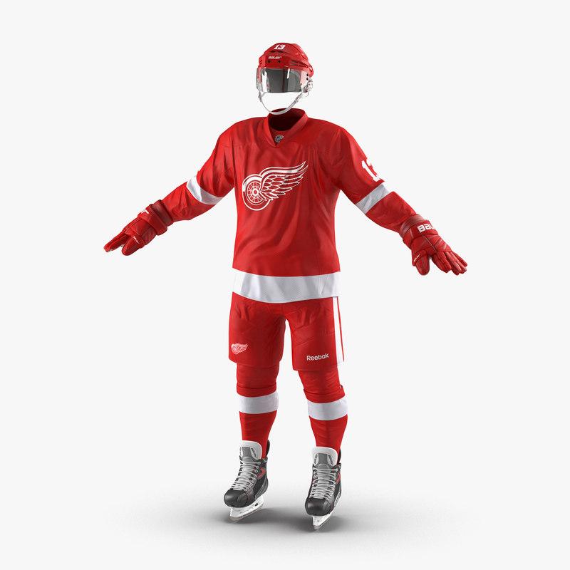 3d max hockey equipment detroit red