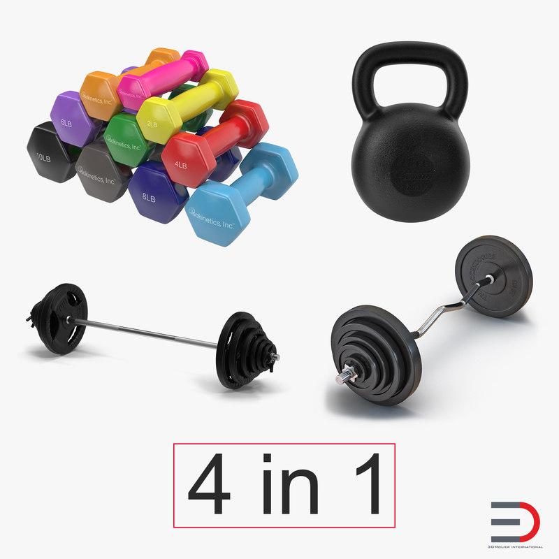 3d model weights dumbbells kettlebell barbell