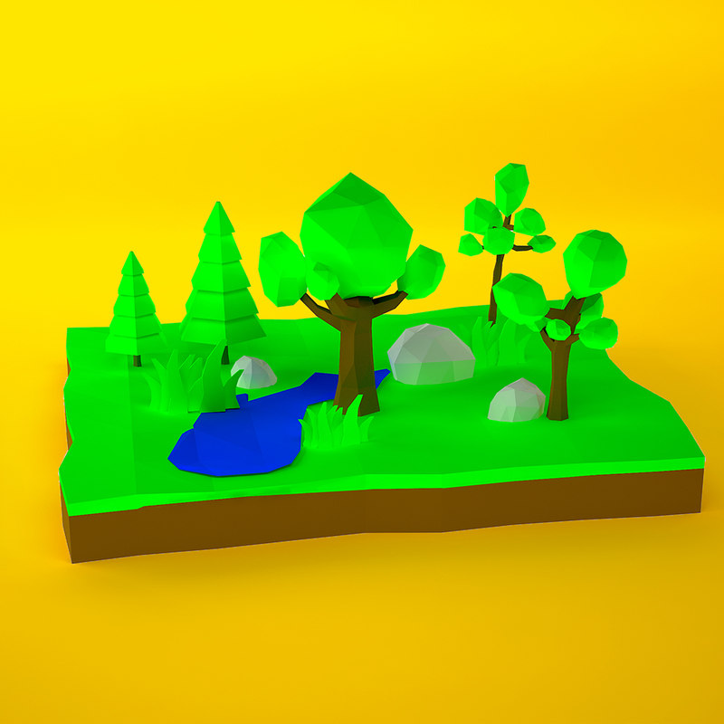 3d low-poly trees model