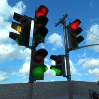 3d realistic traffic lights model