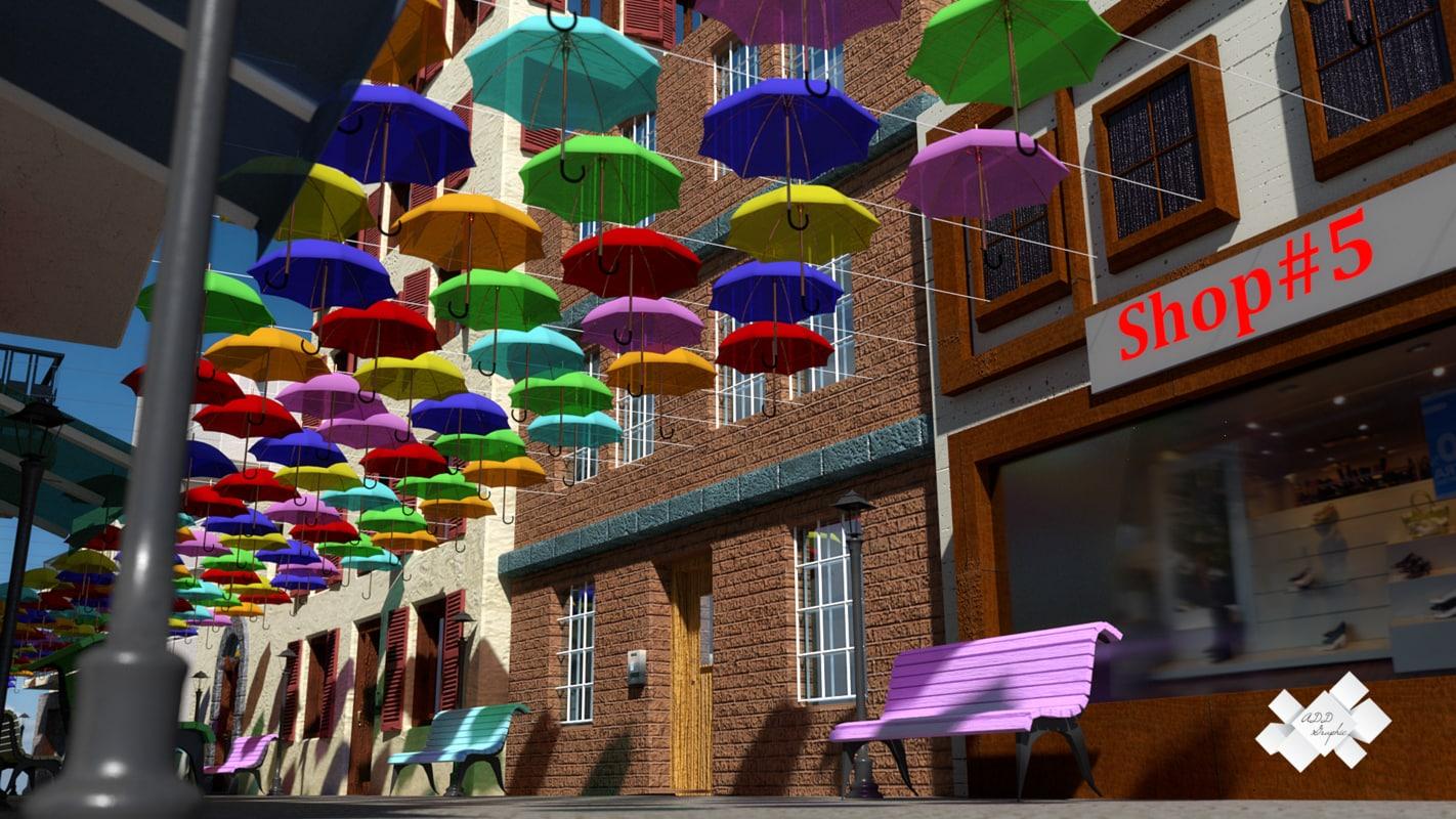 3d model of floating umbrellas street