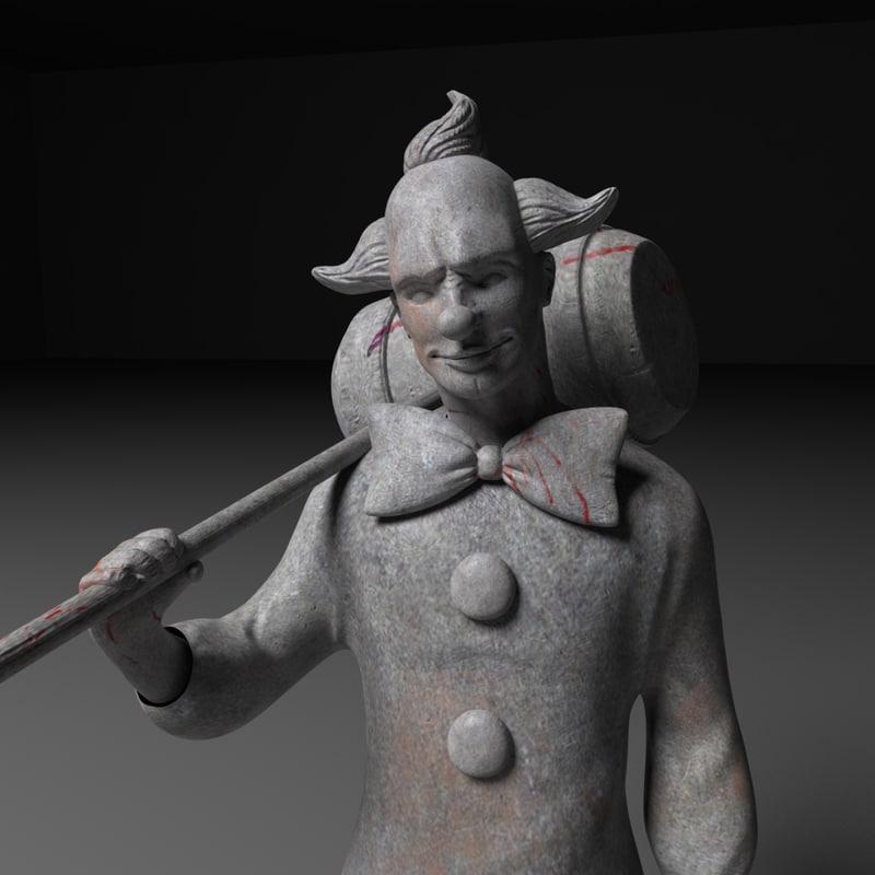3d creepy clown statue