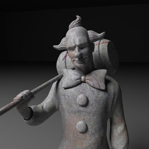 3d creepy clown statue
