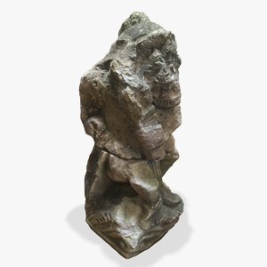 3d statue stone weathered model