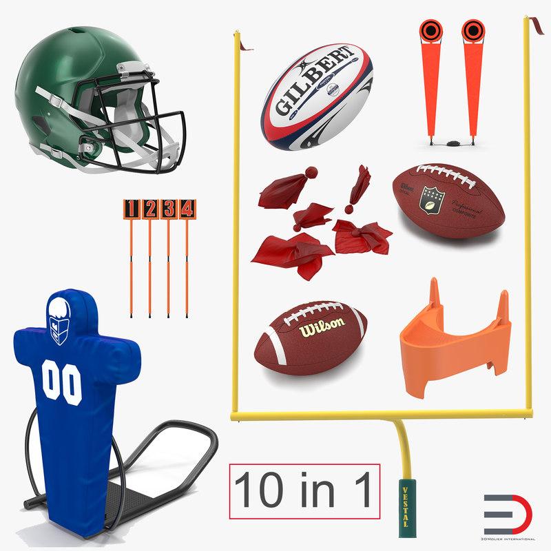 football equipment 2 rugby ball 3d 3ds