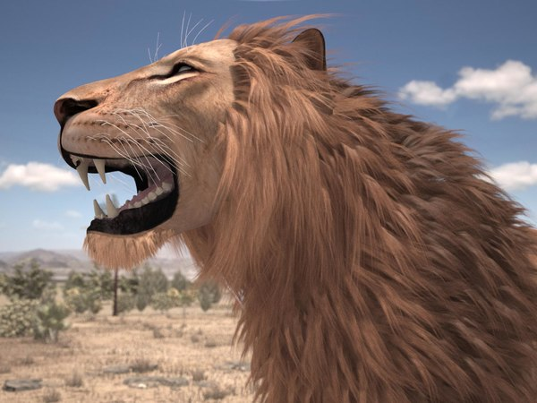 3d rigged lion king hair fur