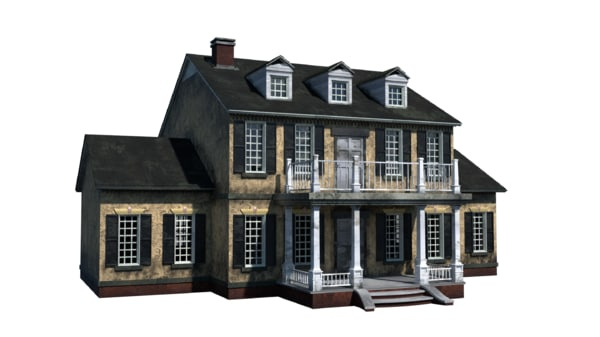 colonial home 3d blend