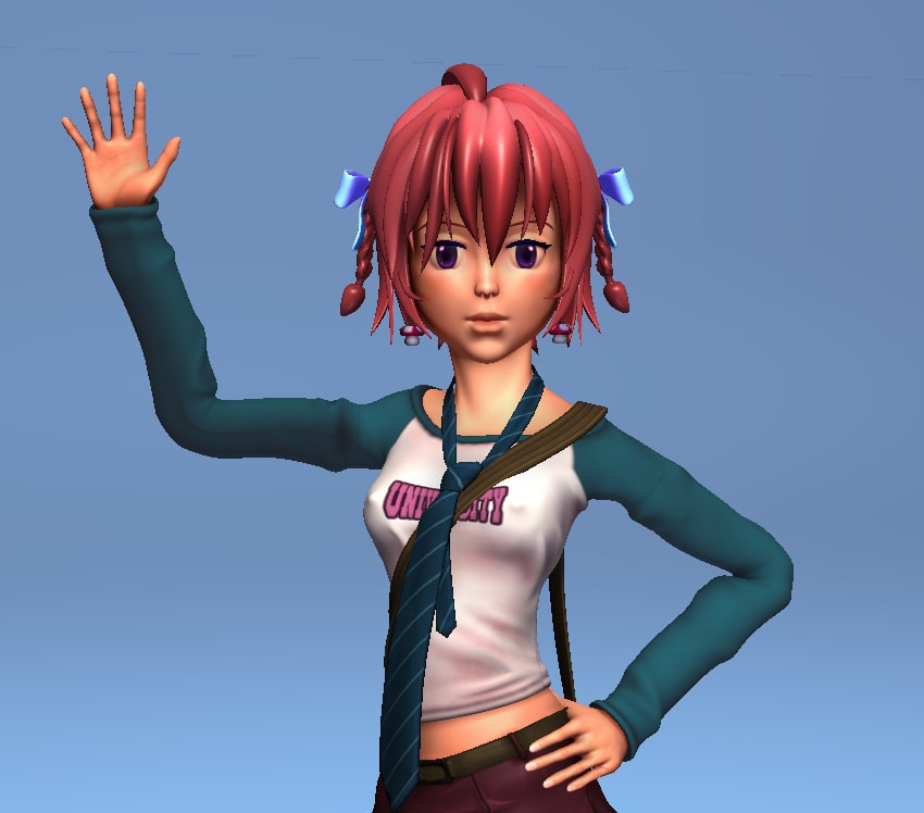 school girl - rigged character 3d obj