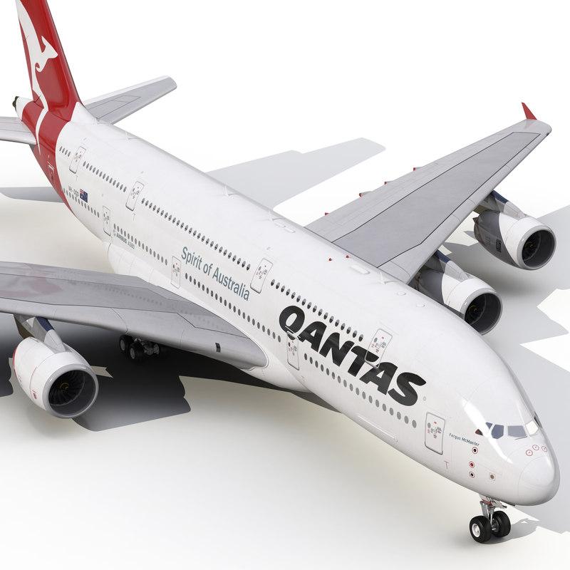 3d model airbus a380-900 qantas