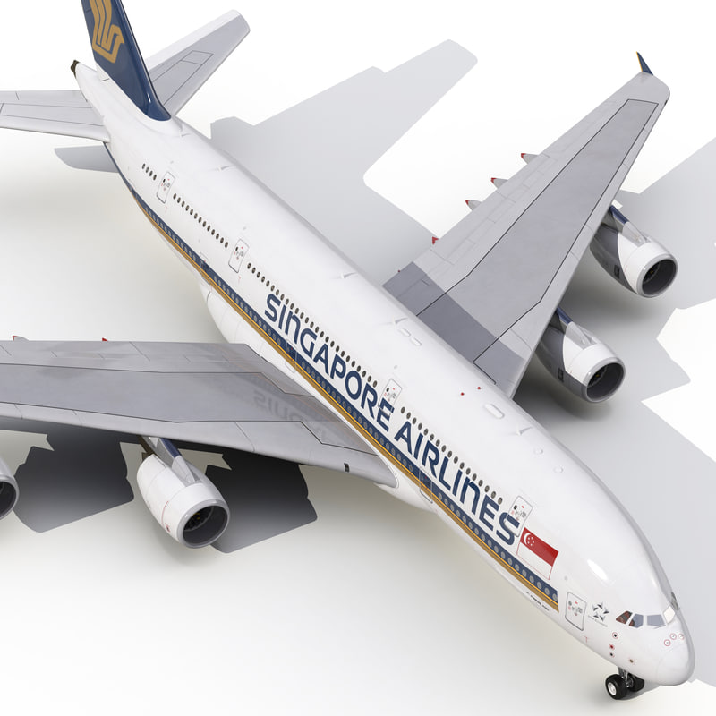 3d model airbus a380-900 singapore airlines