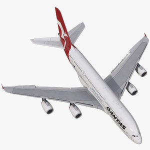 airbus a380-900 qantas rigged 3d model
