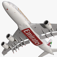3d airbus a380-900 emirates rigged
