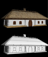 low poly old ukrainian house 19th century