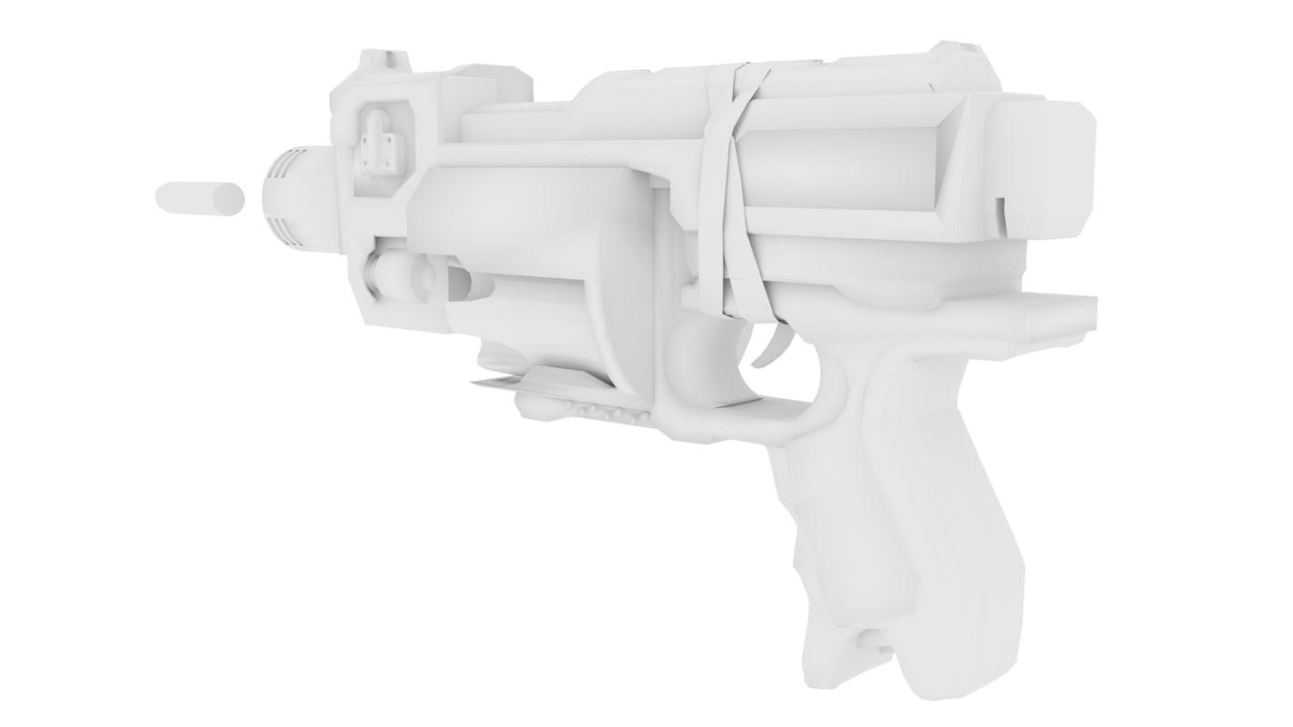 futuristic blaster obj