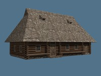 low poly old ukrainian wooden house 19th century