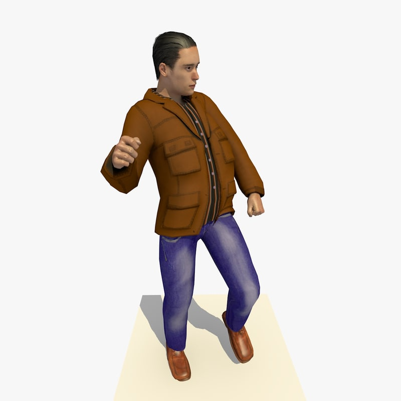 realistically european man brown 3d model