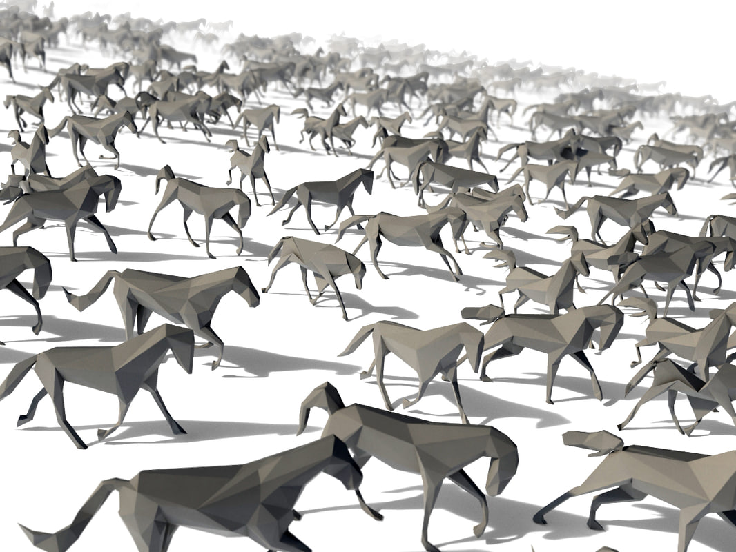 3d model horse pose crowd
