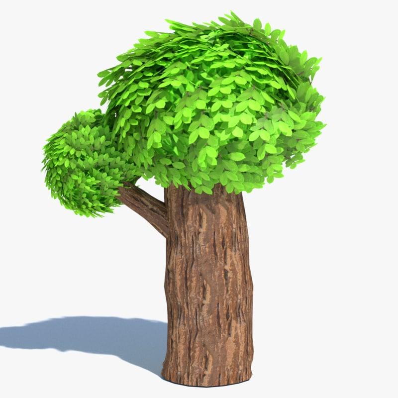 3ds tall cartoon tree