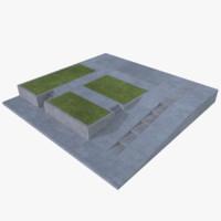 modular driveway 3d obj