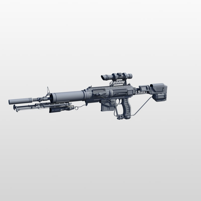 3d model of assault rifle