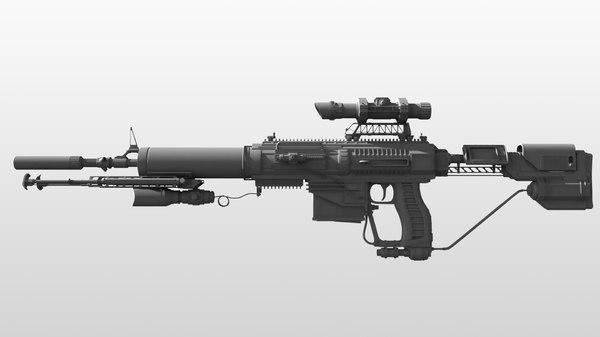 3d model of assault rifle