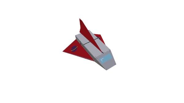 free pixel spaceship 3d model