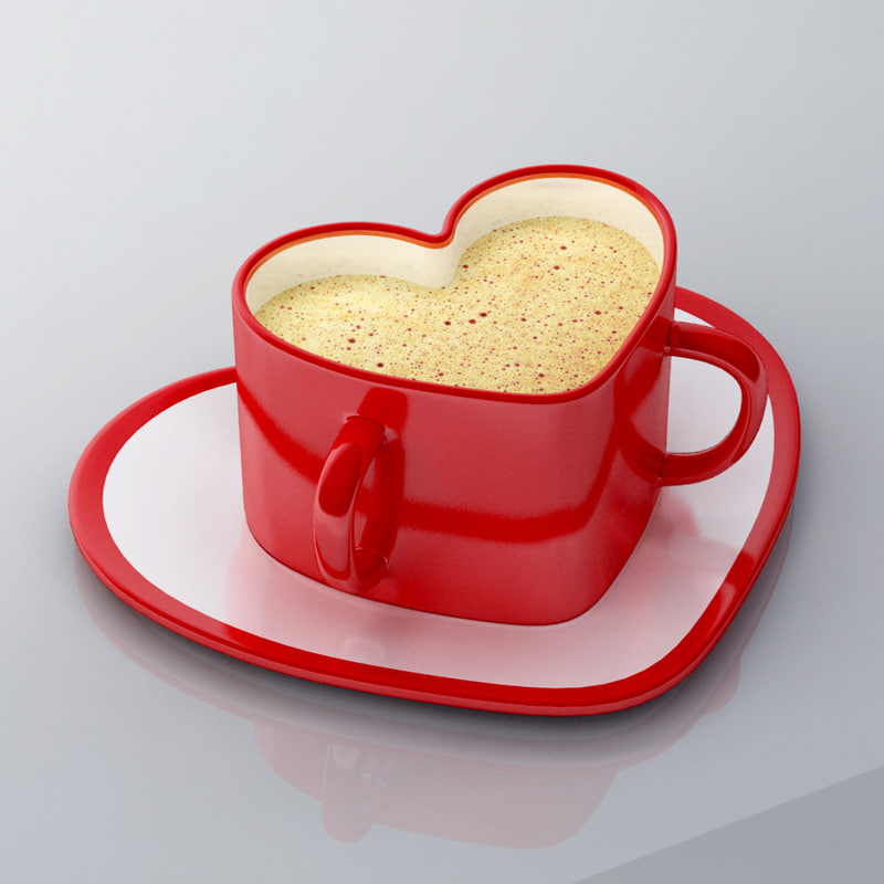 3d model heart shape cup