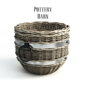 pottery barn cask basket 3ds