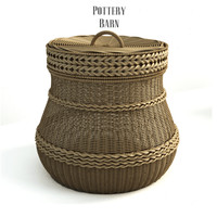 Pottery barn,  Lidded Barrel Basket.