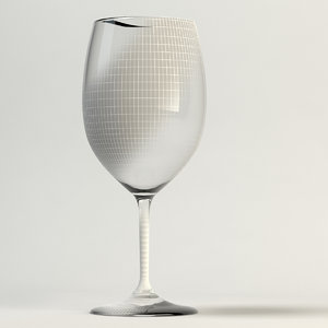 3d wine glass clear