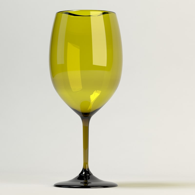 wine glass yellow 3d max