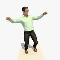 Animated Dancing European Man in a Casual White Shirt