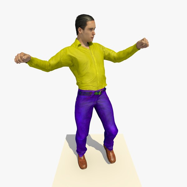 3d model realistically european man yellow
