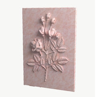 3d rose bas-relief model