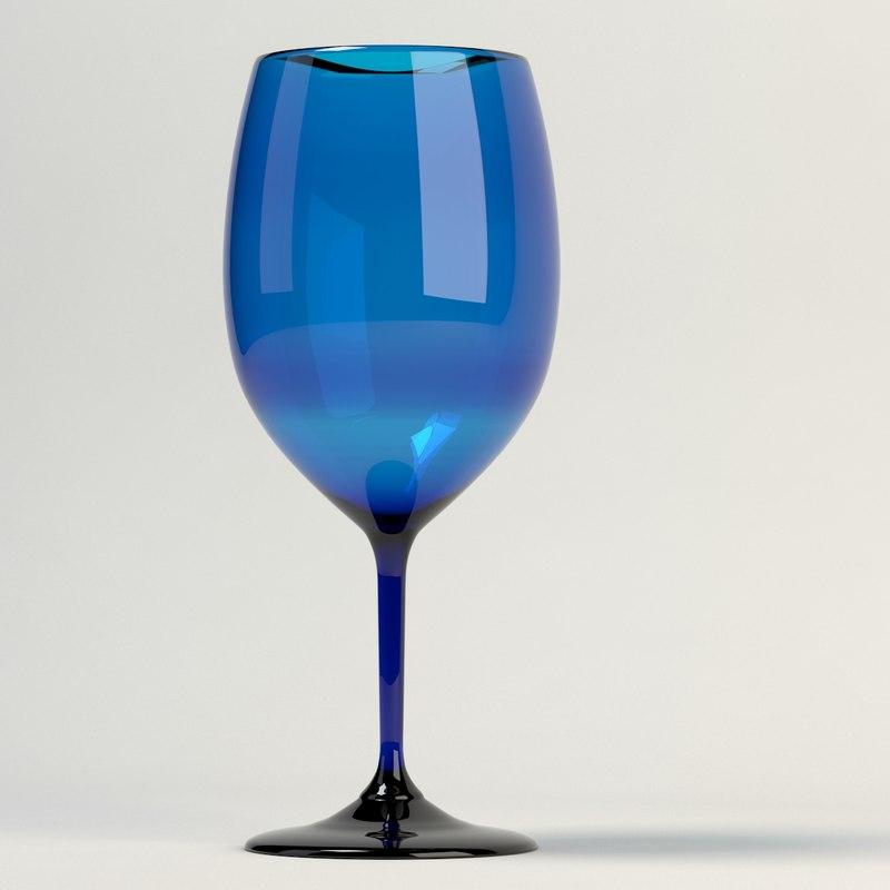 3d model wine glass blue