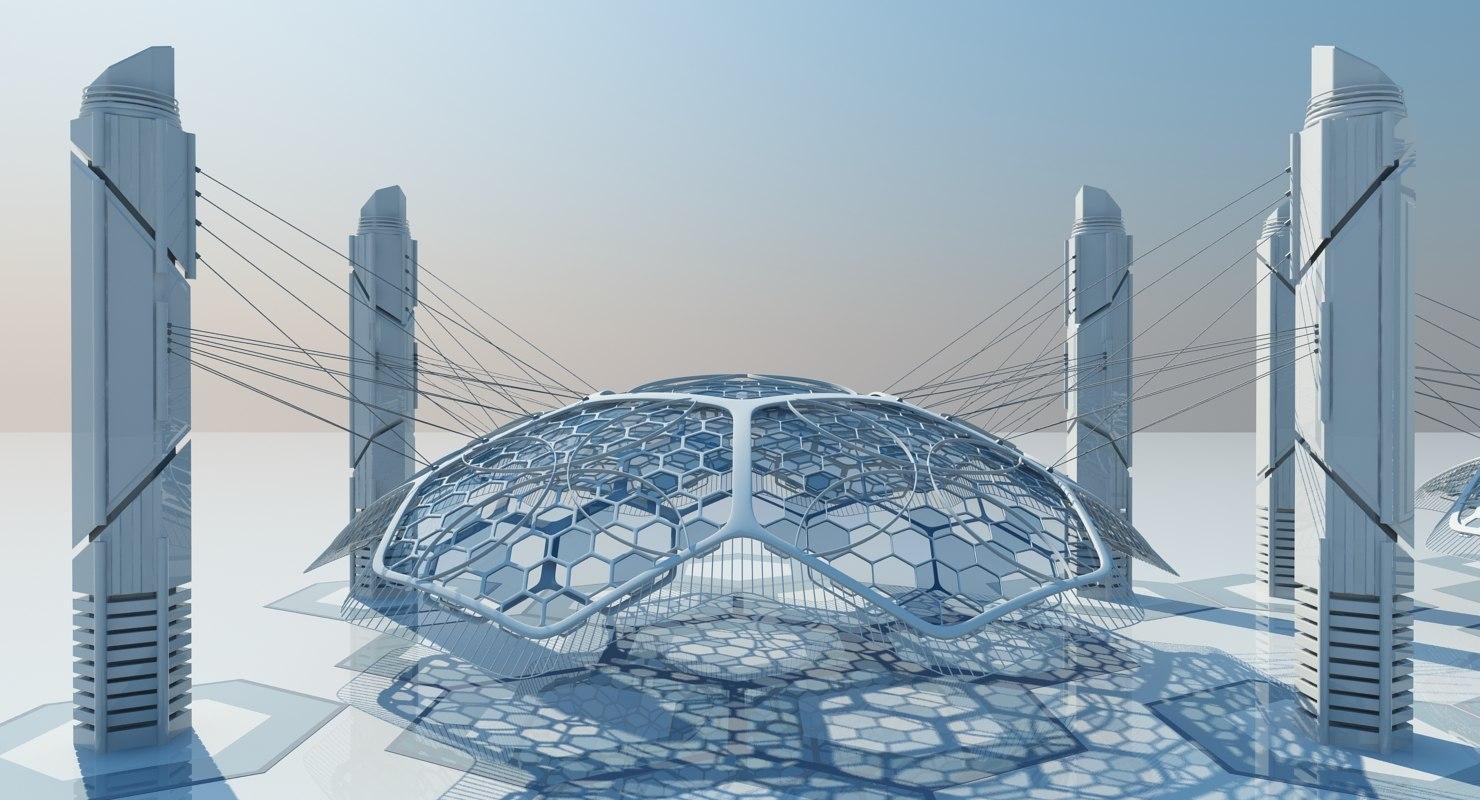 futuristic architectural structure 3d model