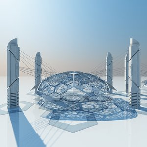 futuristic architectural structure 3d model